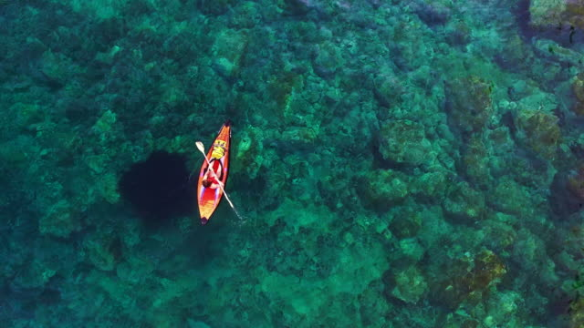 vídeos de stock e filmes b-roll de aerial footage recorded with drone of two girls practicing kayak in the mediterranean sea of costa brava on summer with clear and crystal waters in an idyllic place. 4k uhd. - kayaking