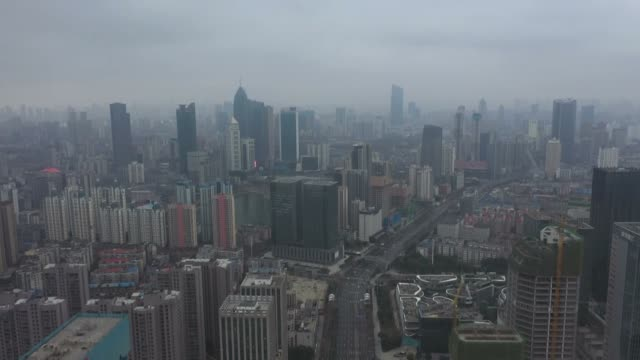 aerial footage shows on february 07, 2020 desolate picture of wuhan, china, the city which has been at the center of the coronavirus outbreak. wuhan... - quarantena video stock e b–roll