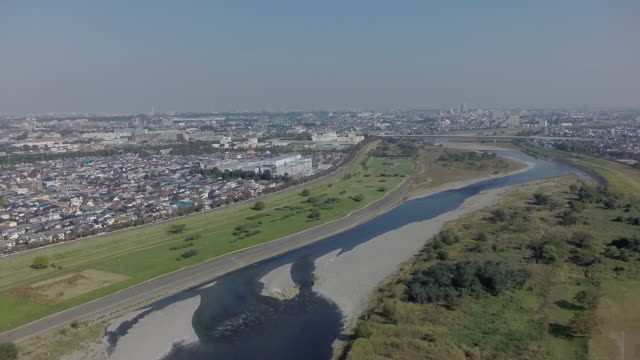 aerial footages of tamagawa river. - kanazawa stock videos and b-roll footage