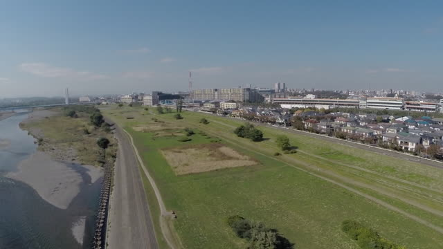 aerial footages of tamagawa river. - kanazawa stock videos and b-roll footage