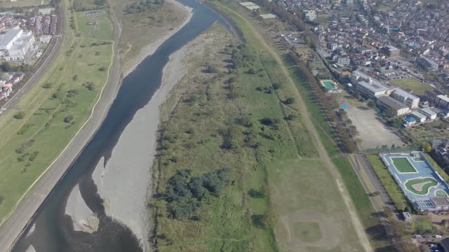 aerial footages of tamagawa river. - 農村の風景点の映像素材/bロール