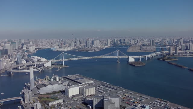 aerial footages of tennōzu isle station. - モノレール点の映像素材/bロール