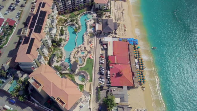 aerial forward: elegant architecture in cabo san lucas - cabo san lucas stock videos and b-roll footage