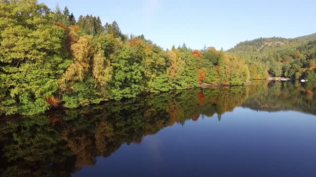 aerial forward: glass still lake reflecting dense waterfront forest with autumn trees in the sunshine - perth, scotland - perthshire stock videos & royalty-free footage