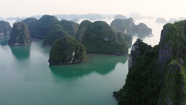 aerial forward idyllic view of plants over rock formations in sea against clear sky - ha long bay, vietnam - aerial stock videos & royalty-free footage