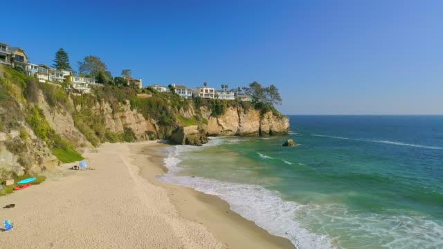 aerial forward: laguna beach in california - laguna beach california stock videos & royalty-free footage