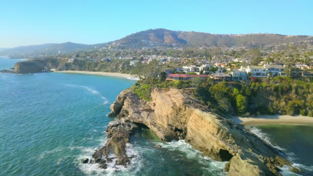 aerial forward: laguna beach's beautiful area - laguna beach california stock videos & royalty-free footage