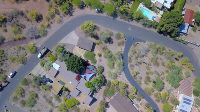aerial forward: nature and homes in arizona - arizona stock videos & royalty-free footage