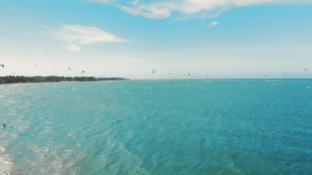 aerial forward: para surfing in the beautiful beach of cabarete - dominican republic stock videos and b-roll footage