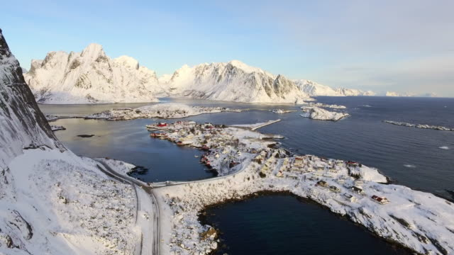 aerial forward: peaceful white area of lofoten norway surrounded by water - lofoten, norway - nordland county stock videos & royalty-free footage