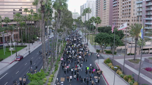 aerial forward: protesters hold signs while marching down major city street under palm trees and american flag - long beach, california - unfairness stock videos & royalty-free footage