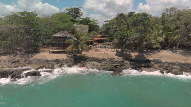 aerial forward rise: the beach and pool of cabarete dominican republic - report produced segment stock videos & royalty-free footage