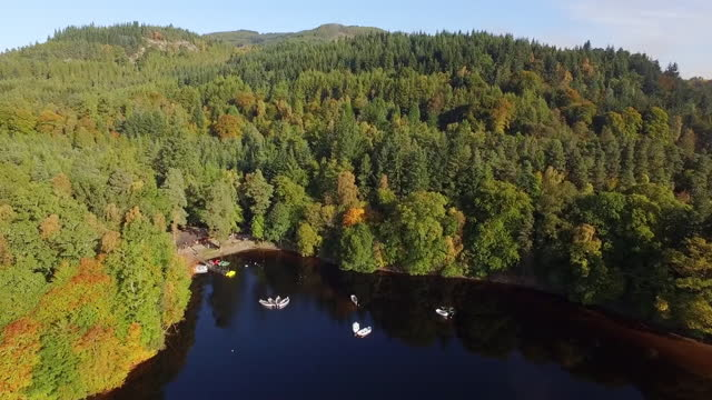 aerial forward: small boats float in still lake surrounded by dense autumnal forest and tall pines on hills in sunshine - perth, scotland - perthshire stock videos & royalty-free footage