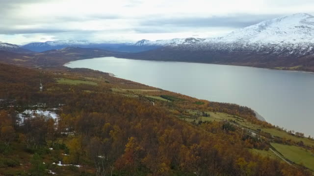 aerial forward: snowy mountains over beautiful lake in autumn in oppdal, norway - pine stock videos and b-roll footage