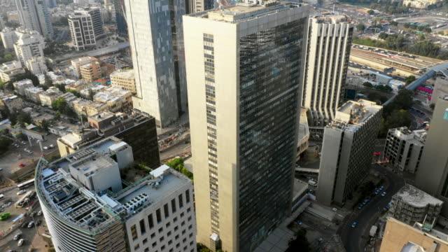 aerial forward: stunning modern buildings in tel-aviv, israel - israel stock videos & royalty-free footage