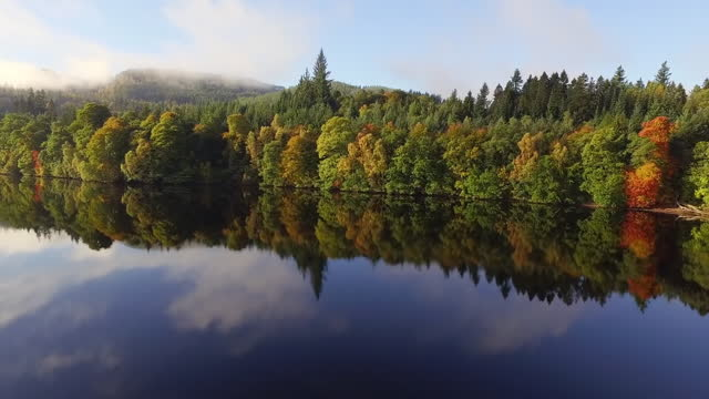 aerial forward: stunning reflective lake before lush autumnal forest with towering pines and distant hills in sunshine - perth, scotland - perthshire stock videos & royalty-free footage
