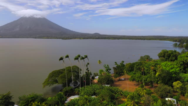 aerial forward: trees on edge of ocean with volcano, smoke on opposite side - ometepe, nicaragua - nicaragua stock videos & royalty-free footage