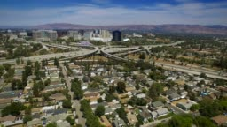Aerial Freeway Interchange in San Jose - Silicon Valley