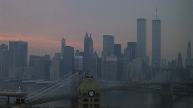Aerial from Brooklyn to the  Manhattan skyline.