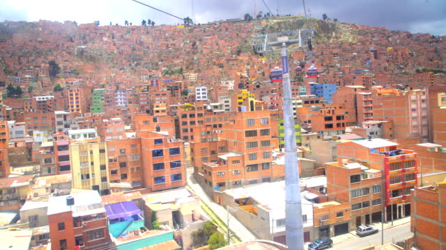 aerial from cable car above el alto bolivia - tram stock-videos und b-roll-filmmaterial