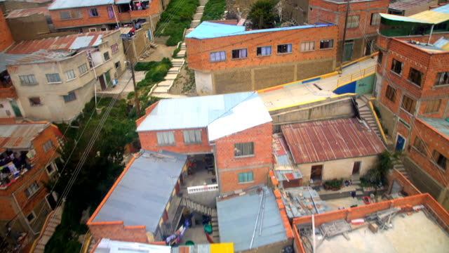 aerial from cable car above el alto bolivia - la paz region la paz stock-videos und b-roll-filmmaterial