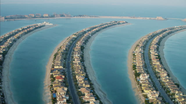 aerial frond dubai palm jumeirah reclaimed land uae - frond stock videos & royalty-free footage