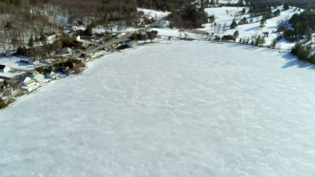 aerial frozen lake, vermont - vermont stock videos & royalty-free footage