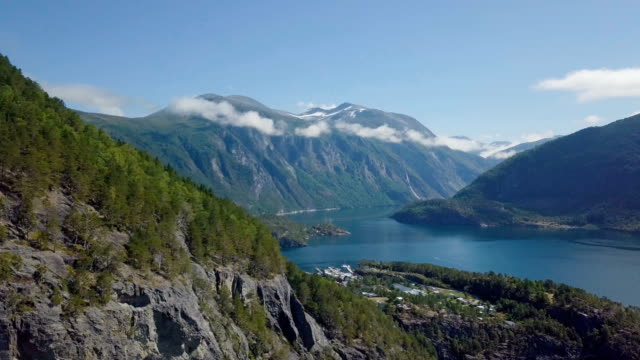aerial / geirangerfjord with cruise boat, western norway - norway stock videos & royalty-free footage