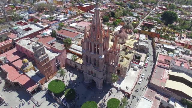 Aerial general shot of San Miguel de Allende in Guanajuato Mexico, in a sunny day 2
