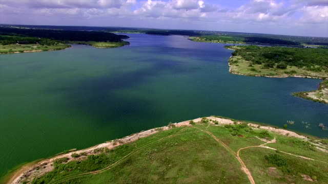 aerial: georgetown lake paradise high above the texas hill country lake - georgetown texas stock videos & royalty-free footage