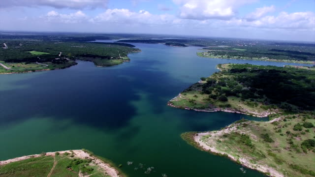 aerial: georgetown lake texas hill country bliss - georgetown texas stock videos & royalty-free footage