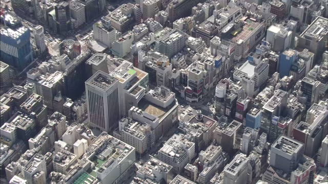 Aerial Ginza Area In Tokyo