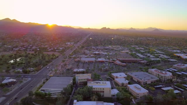 aerial: going to the mountains of scottsdale - arizona stock videos & royalty-free footage