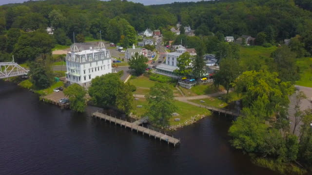 aerial: goodspeed opera house and town on connecticut river - new england usa stock videos & royalty-free footage