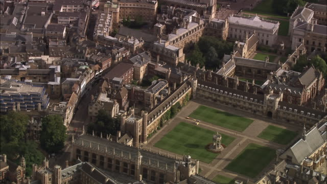aerial great court of trinity college at cambridge university / england - trinity college cambridge university stock videos & royalty-free footage