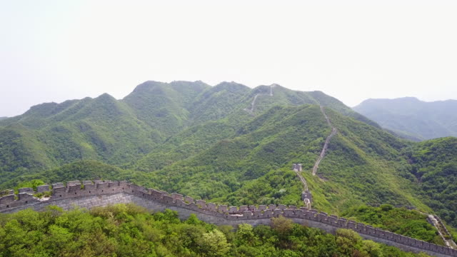 Aerial, Great Wall of China in mountains