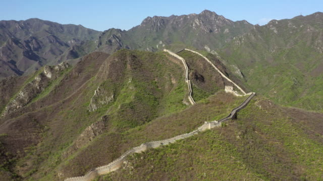 aerial great wall of china mutianyu area - mutianyu stock videos and b-roll footage