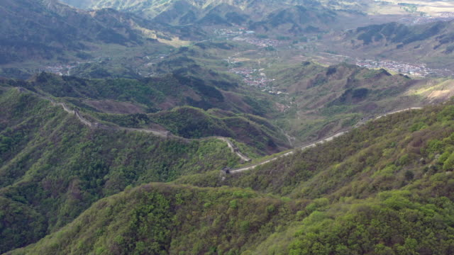 aerial great wall of china mutianyu area - mutianyu stock videos & royalty-free footage