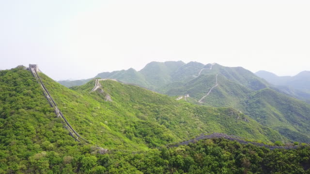 aerial, great wall of china - old ruin stock videos & royalty-free footage