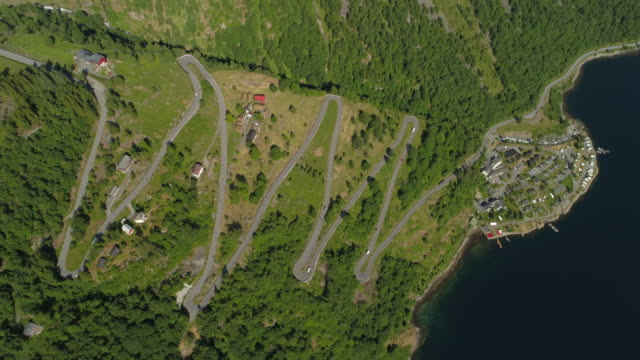 aerial: green mountain with winding road and fjord during sunny day - geiranger fjord, norway - ジグザグ点の映像素材/bロール