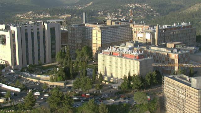 aerial hadassah ein kerem hospital, jerusalem, israel - jerusalem stock videos and b-roll footage