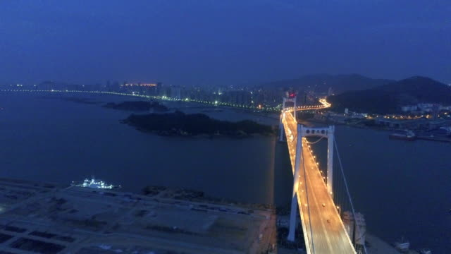 Aerial haicang bridge in the early morning