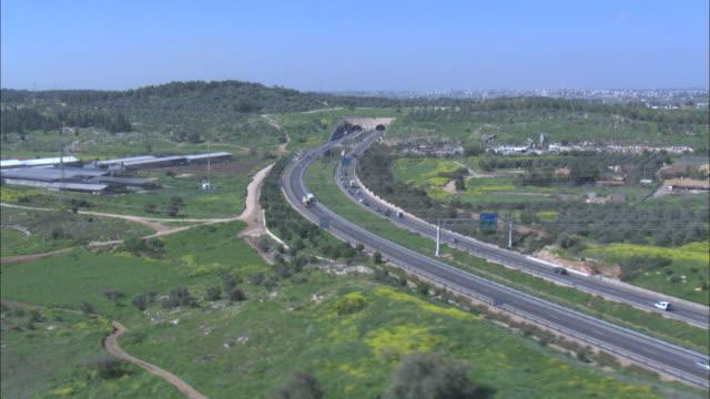 Aerial HD shot Jerusalem Entrance, Israel, Judea mountains