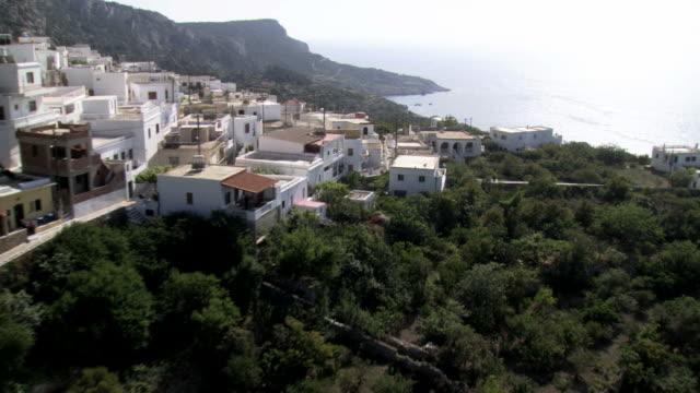 Aerial HD video of Messohori church in Karpathos / Karpathos, Dodecanese Islands, Greece
