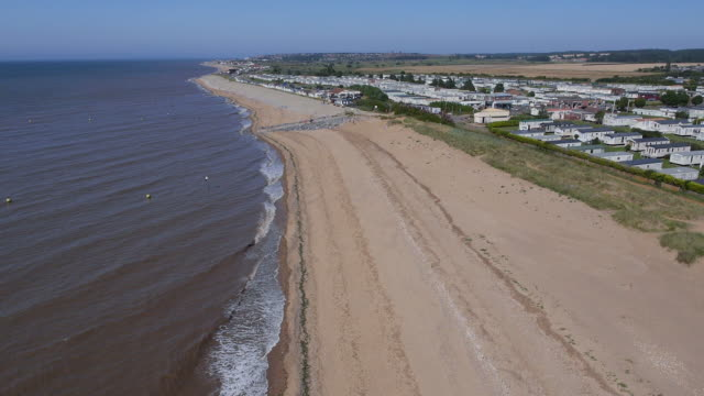 aerial heacham beach and caravan park - norfolk england stock videos & royalty-free footage
