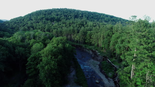 aerial high angle view catskills mountains river sunset summer - eastern usa stock videos & royalty-free footage