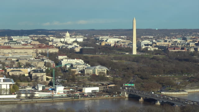aerial high angle view of washington dc national mall with lincoln memorial washington monument and united states capitol. usa landmark and travel destination concept - dome stock videos & royalty-free footage