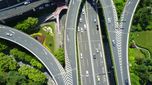 aerial, highway in shanghai, china - overpass road stock videos & royalty-free footage