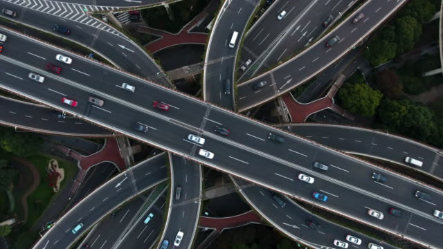 aerial highway junction at night - highway stock videos & royalty-free footage
