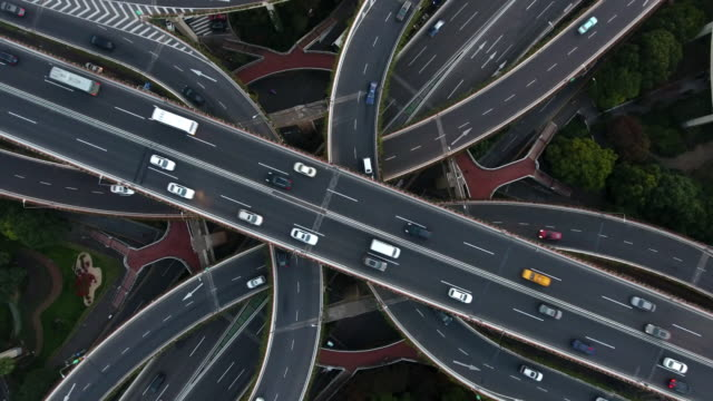 Aerial highway junction at night